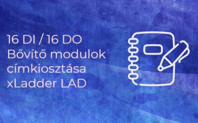 16 DI / 16 DO Bővítő modulok címkiosztása, xLadder LAD