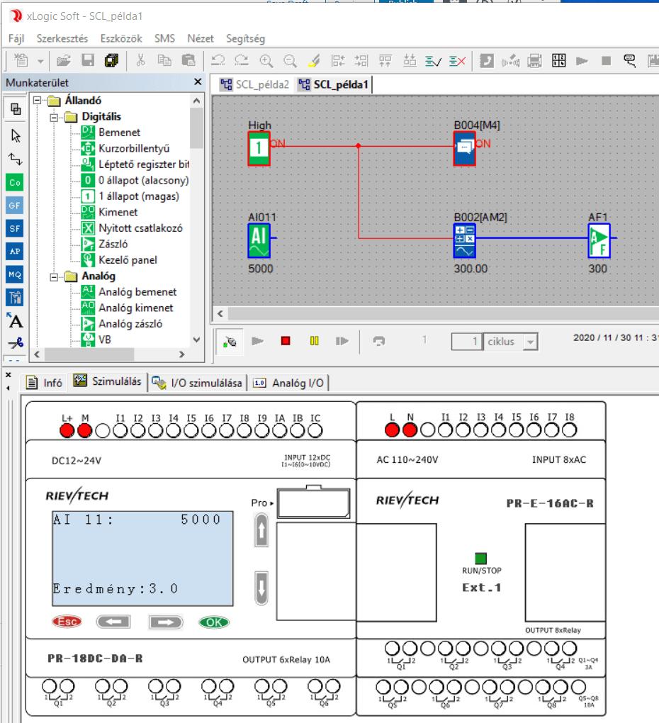 xLogicSoft analóg skálázás mintaprogram