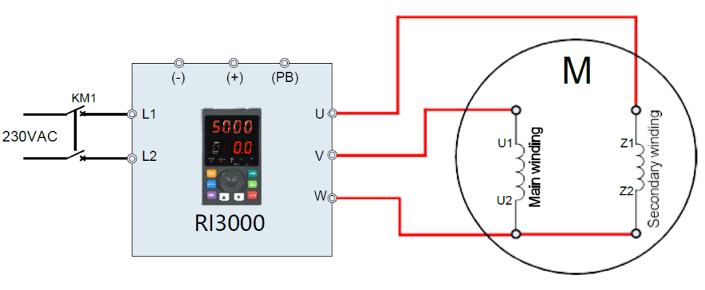 0,75kW kisebb 1fázisú motor bekötése