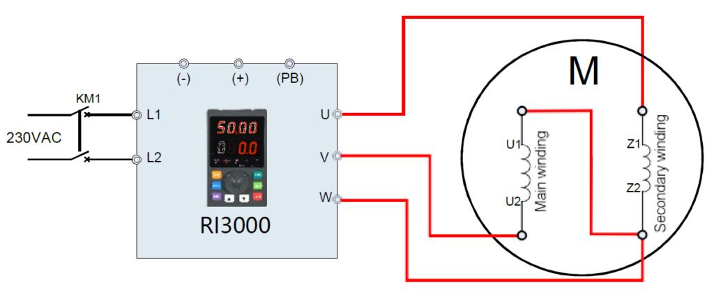 0,75kW kisebb 1fázisú motor bekötése ellentétes irány