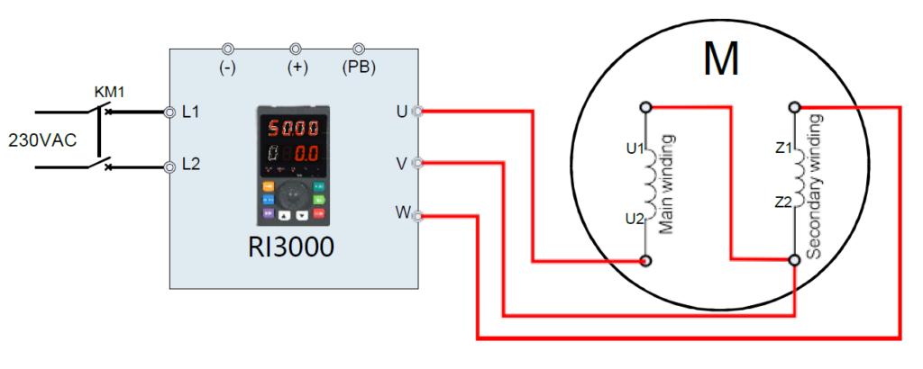 0,75kW nagyobb 1fázisú motor bekötése ellentétes irány