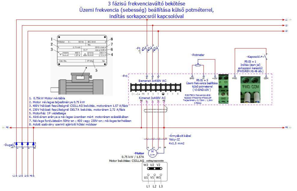 3 fázisú frekvenciaváltó bekötése, sebesség állítás potméterrel, indítás kapcsolóval
