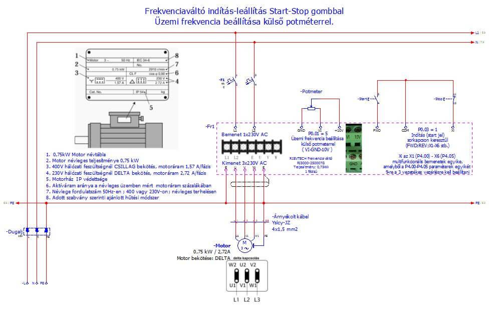 Frekvenciaváltó indítás-leállítás Start-Stop gombbal ; Frekvenciaváltó bekötési példák