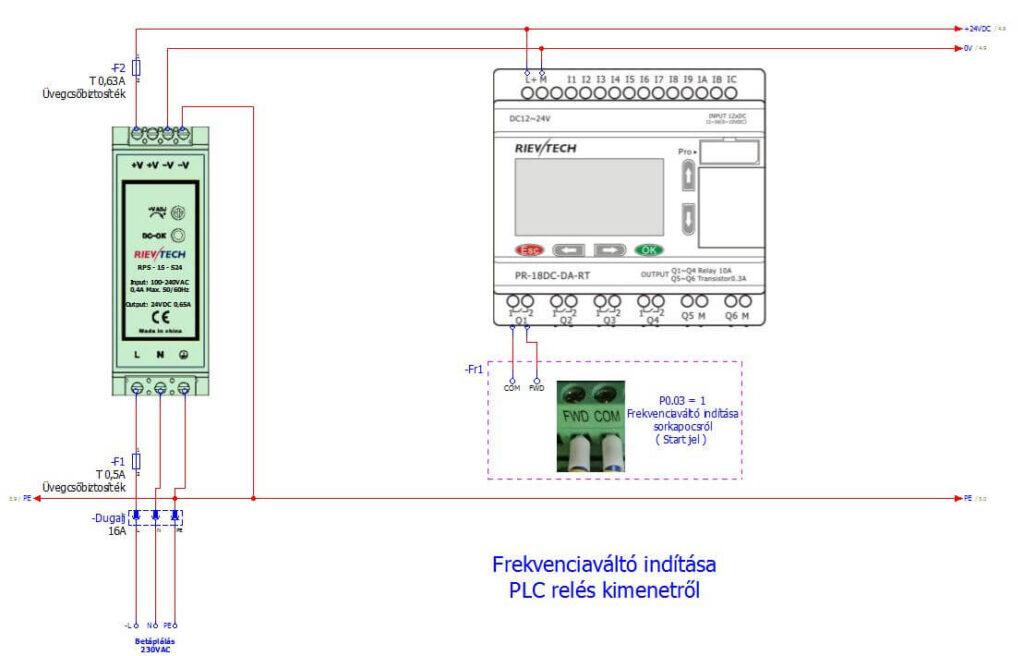 Frekvenciaváltó indítása PLC relés kimenetről ; Frekvenciaváltó bekötési példák