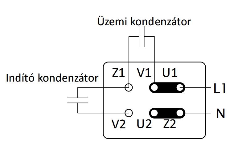 Egyfazisú villanymotor bekötése